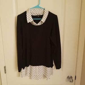 Adrianna Papell Large Black Top With Polka Dots